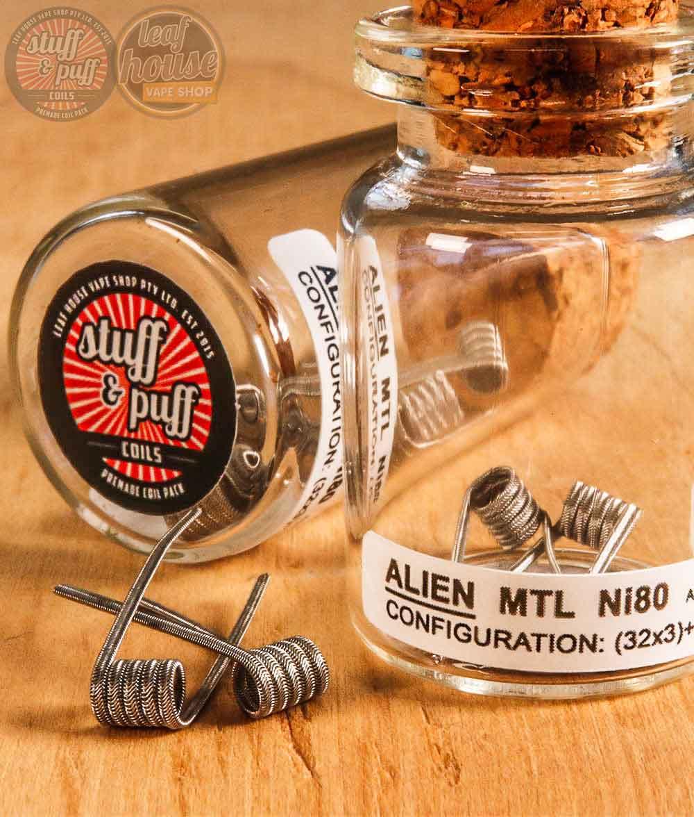Stuff and Puff Coils - Alien MTL Ni80 0.73-0.84ohm - Premade Coils - Leaf House Vape Shop Melbourne Australia