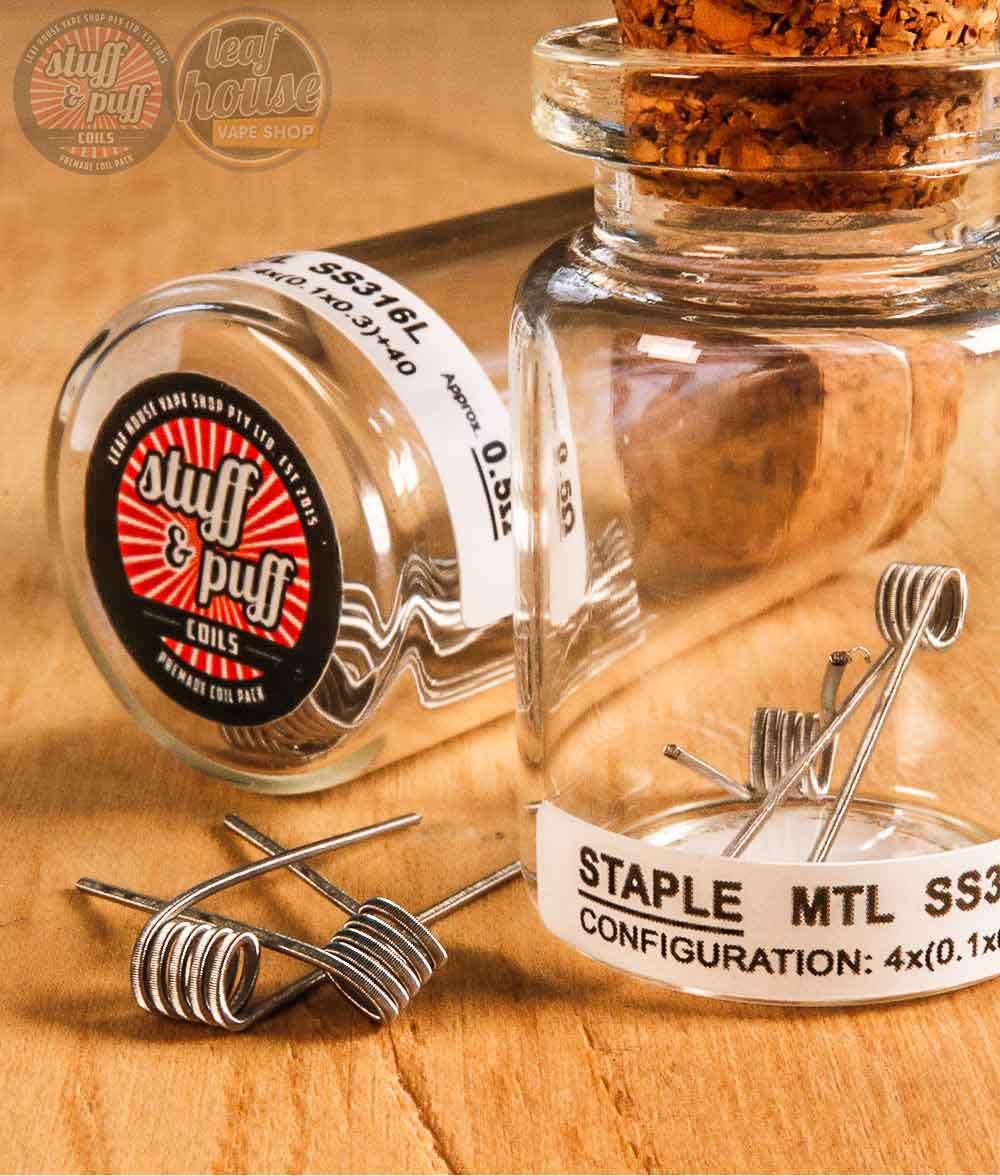 Stuff and Puff Coils - Staple MTL SS316L 0.5ohm - Premade Coils