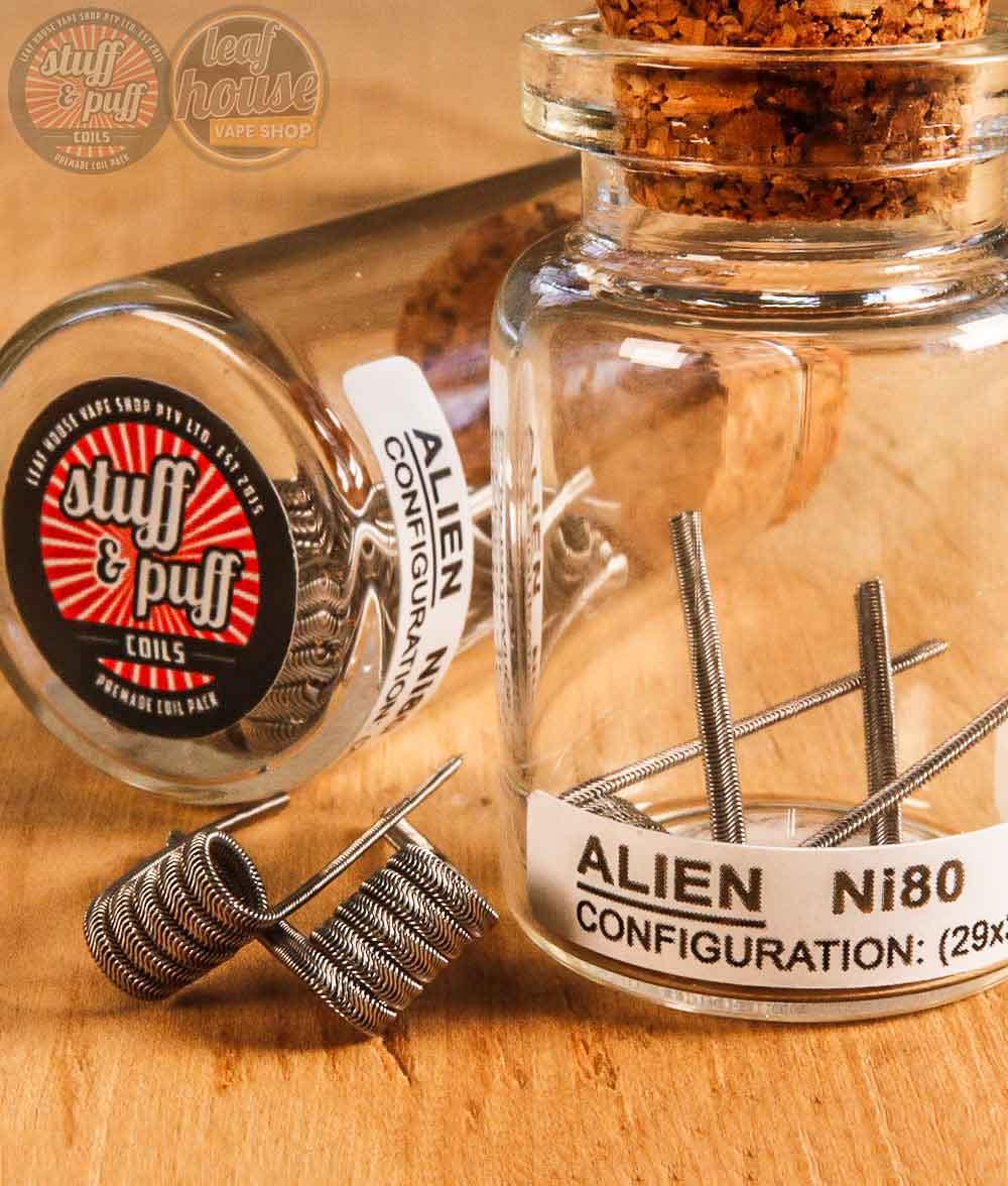 Stuff and Puff Coils - Alien Ni80 0.36ohm - Premade Coils