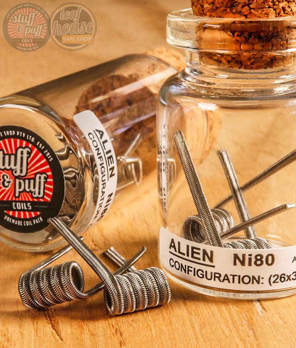 Stuff and Puff Coils - Alien Ni80 0.2ohm - Premade Coils